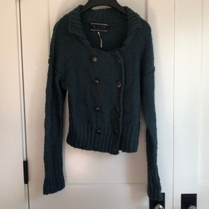 Deep teal button up cardigan from free people